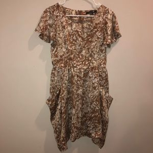 Forever 21 Floral Dress Brown and White